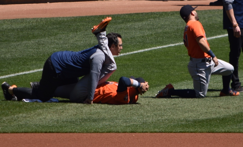 When stretching pregame goes wrong… uh this maybe going too far